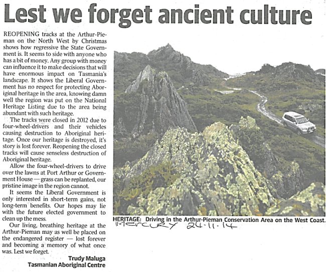 Lest we forget ancient culture - The Mercury Letters to the Editor - 25 November 2014