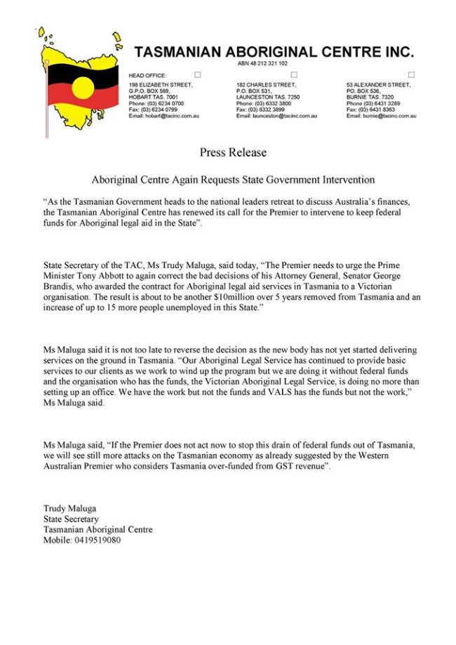 Press Release - TAC Requests State Government Intervention